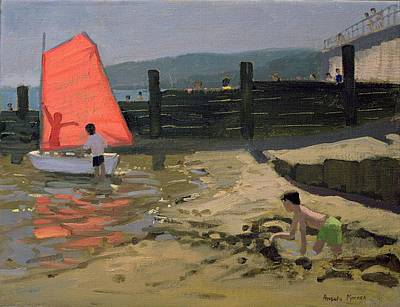 Boardwalk Painting - Red Sail Isle Of Wight by Andrew Macara