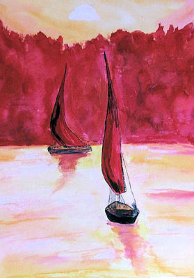 Red Sails Art Print by Alethea McKee