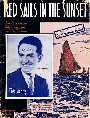 Old Sheet Music Photograph - Red Sails In The Sunset by Mel Thompson