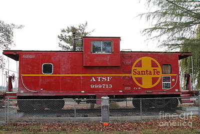 Red Sante Fe Caboose Train . 7d10328 Art Print by Wingsdomain Art and Photography