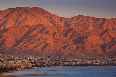 Aqaba Photograph - Red Sea Beachfront, Sunset View Towards Aqaba by Walter Bibikow