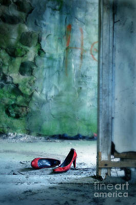 Photograph - Red Shoes In Abandoned Building by Jill Battaglia