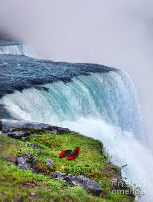 Red Shoes Left By The Falls Art Print by Jill Battaglia