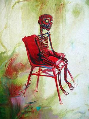 Red Skeleton Chair Original by Heather Calderon