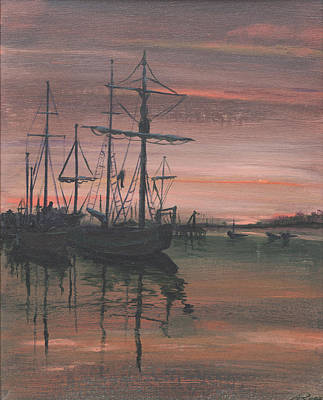 Art Print featuring the painting Red Sky At Night by Anthony Ross