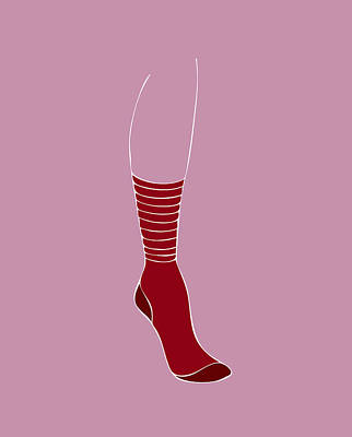 Model Drawing - Red Sock by Frank Tschakert
