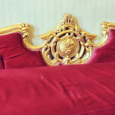 Golden Photograph - Red Sofa by Matthias Hauser