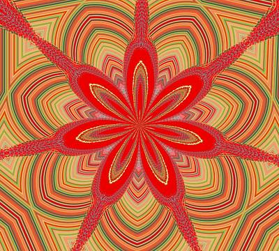 Red Star Brocade Art Print by Alec Drake