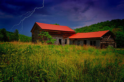 Lightning Photograph - Red Strike by Emily Stauring
