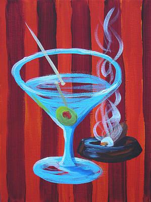 Red Stripe Martini Art Print by Michael Baum