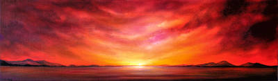 Painting - Red Sunset by Jan Farthing