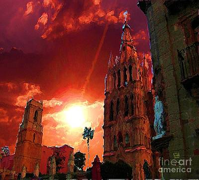 Art Print featuring the photograph Red Sunset Over The Paroquio by John  Kolenberg