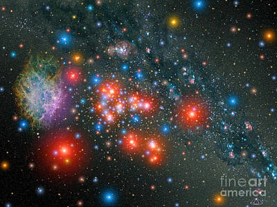 Blue Giant Star Photograph - Red Super Giant Cluster With Associated by Stocktrek Images