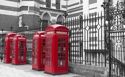 Red Telephone Boxes Art Print by David French