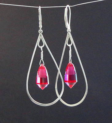 Red Topaz  Acorn Cut Briolette Chandelier Drop Earrings Original by Robin Copper