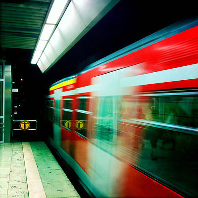 London Photograph - Red Train Blurred by Matthias Hauser