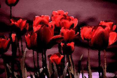 Red Tulips At Dusk Art Print