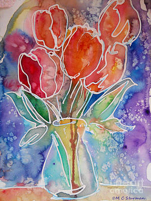 Red Tulips Art Print by M C Sturman
