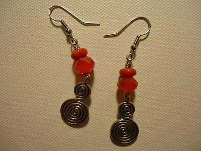 Red Twist Earrings Original by Jenna Green