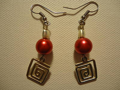 Handmade Photograph - Red Twisted Square Earrings by Jenna Green