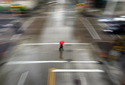 Realism Photograph - Red Umbrella by Glennis Siverson
