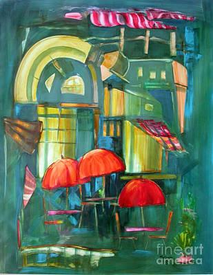 Red Umbrellas Art Print by Shane Guinn