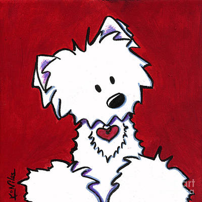 Kiniart Painting - Red Velvet Westie by Kim Niles