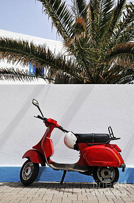 Red Vespa By Wall Art Print by Sami Sarkis