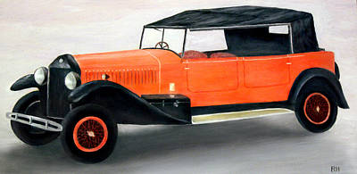 Red Vintage Car Art Print by Ronald Haber