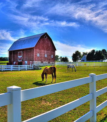 Red White And Barn Art Print by Coby Cooper