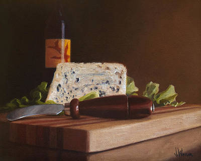 Art Print featuring the painting Red Wine And Bleu Cheese by Joe Winkler