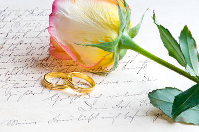 Photograph - Red Yellow Rose And Ring Over A Hand Written Letter by Ulrich Schade