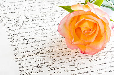 Photograph - Red Yellow Rose Over A Hand Written Love Letter by Ulrich Schade