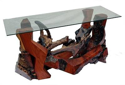 Sculpture - Redwood Burl And Glass Console Table Ds-19411 by Daryl Stokes