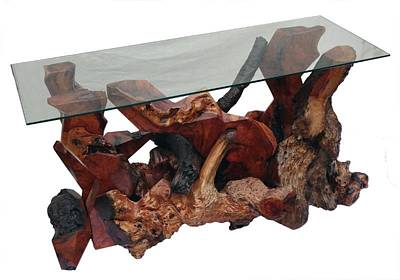 Sculpture - Redwood Burl Modern Console Table Ds-19911 by Daryl Stokes