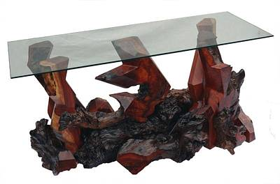 Sculpture - Redwood Console Table Ds-19711 by Daryl Stokes