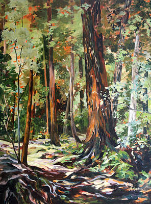 Art Print featuring the painting Redwoods Maui by Rae Andrews