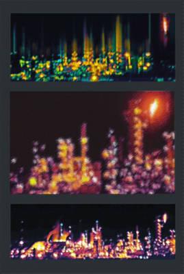 Refinery Night Views Triptych Art Print by Steve Ohlsen