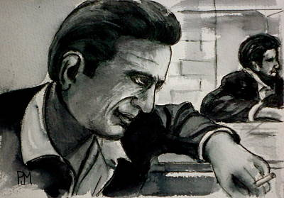 Johnny Cash Drawing - Reflecting by Pete Maier