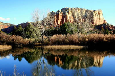 Print featuring the photograph Reflection At Ghost Ranch by Laurel Talabere