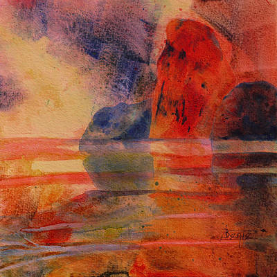 Abstact Landscapes Painting - Reflection by Bente Hansen