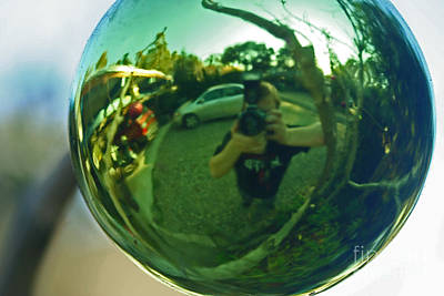 Photograph - Reflection In Christmas Ornament by Morgan Wright