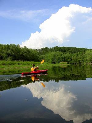 Reflection Of A Kayaker On The Merrimack Art Print by Rick Frost