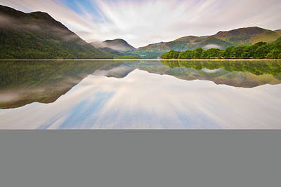 Reflection Of Mountains And Trees On Lake Art Print by John Ormerod