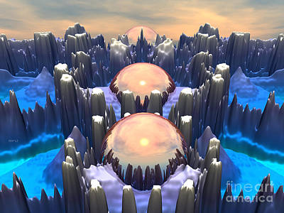 Fractal Other Worlds Digital Art - Reflection Of Three Spheres by Phil Perkins