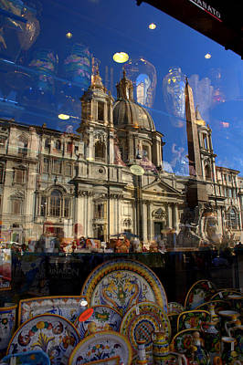 Art Print featuring the photograph Reflection Piazza Navona by Caroline Stella