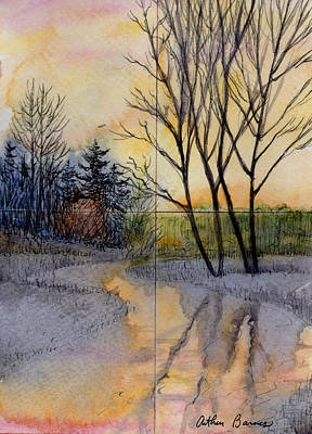 Watercolor Winter Scene Painting - Reflections by Arthur Barnes