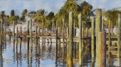Reflections At Fort Pierce Art Print by Trish Tritz