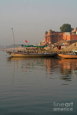 Cremation Ghat Photograph - Reflections In The Ganges by Serena Bowles