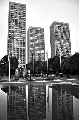 Photograph - Reflections Of Society Hill Towers Black And White by Andrew Dinh